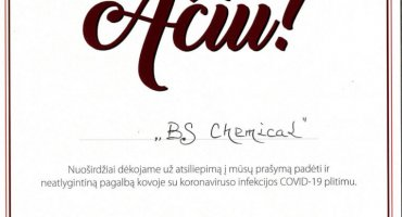 BS-Chemical padėka